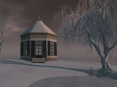 Second Life gazebo with snowroof