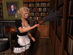 maid with feather duster