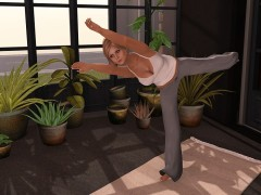 mesh yoga mat with yoga animations