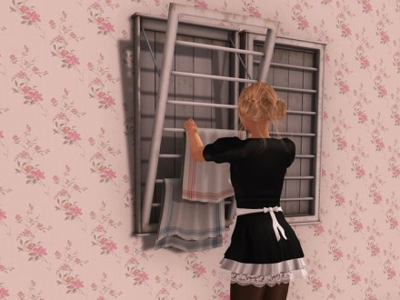 maid hanging laundry