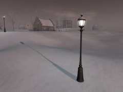 snow on streetlight