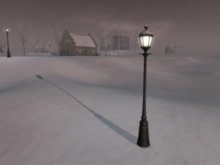 snow on streetlight