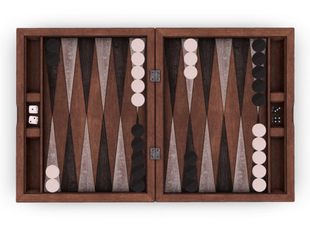 Antique wooden backgammon game board 3D model