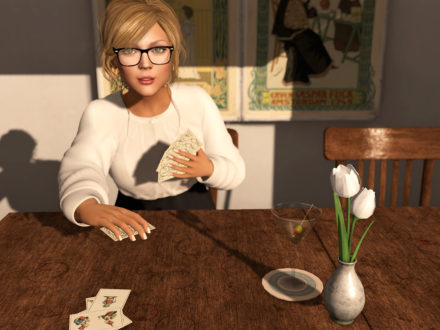 Dutchie Second Life cafe table - martini and cards