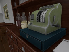 vintage-cafe-bar-cash-register-wine-bottles