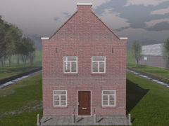 Dutchie Red Brick Mesh Residential Building for Second Life