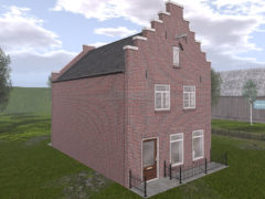 Dutchie Red Brick Store Building with Stepped Facade for Second Life